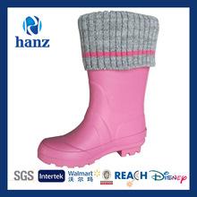 2014 Children Hot New Pink Half Rain Wellies with Warm Cuff Wholesale