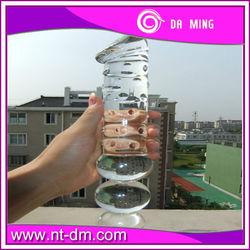 Hot heating G-spot sex products pyrex glass dildo