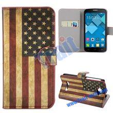 Chinese style US UK Flag Leather Flip case for alcatel C7