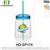 16Oz Promotional Single Wall Plastic Mason Jar With Straw Wih No Handle
