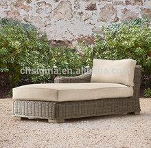 2015 Hot sale outdoor garden synthetic rattan single sofa bed
