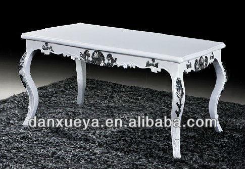 Luxe italiaanse eetkamer meubelen klassieke antieke witte siver gesneden eettafel houten tafels - Meubilair loungeeetkamer ...