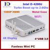 New Mini pc Cloud computer 4GB RAM Branded 128GB SSD Intel I5 Dual Core Quad Threads CPU 1.7Ghz Wifi, 4*USB3.0, VGA ports