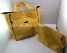 2015 Latest design fashion yellow snake skin women handbags leather tote bag