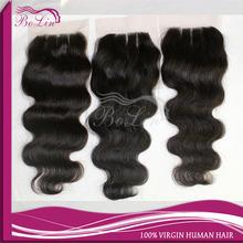 new arrival 100% virgin Brazilian cheap lace closure, natural color 3 part lace closure body wave