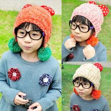 C83921A Little girl earflap hat,2014 winter girls warm knitted hats,hot sale hats