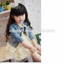 popular new style spring/autumn children girl Denim Jacket lace coat jeans coat