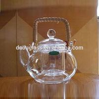 2014 HOT SALES 400ml Rattan handle hand made heat resistant borosilicate exotic pyrex glass teapot glass tea set
