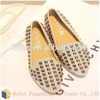 fashion women flat shoes 2014 European and American fashion rivet woman shoe