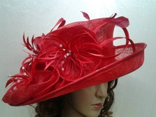 china wholesale red party hat images of sinamay hats fashion ladies church hats