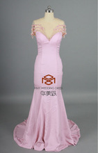 HMY-E003 Real Images Charming Sexy Beaded Back Sweetheart Floor Length illusion Tulle See-through Evening Dresses