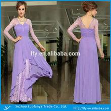 Floor-length Sheer Lace Long Sleeve Empire Waist Chiffon Celebrity Evening Dress