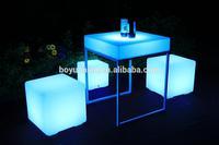 plastic led square coffee table/bar&cafe& casino led furniture/led bar table