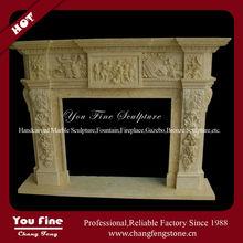 Indoor Hand Carved Freestanding Stone Decorating Corner Fireplace Mantel