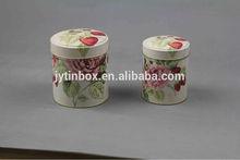 2 piece matte rose printing chinese tea tin box