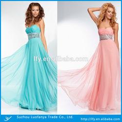 Strapless Pleated A-line Beaded Empire Waist Floor-length Chiffon Evening Dress Factory