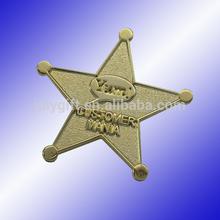 custom metal five star lapel pin with embossed