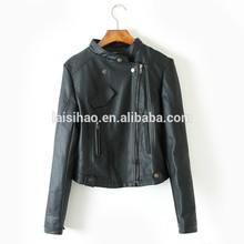 2015 fashion new style ladies pu leather jacket with washed