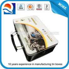 CMYK printing tin box with pvc window , tin tool box with handle