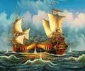 Gros ocean waves main voilier peintures à l'huile sur toile de la chine
