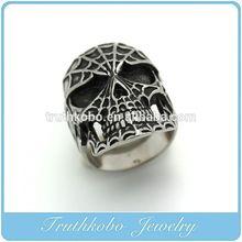 TKB-R0117 Stainless Steel Mens Gothic Biker Jewelry Sugar Skull Ring Oxidized Black