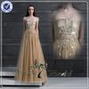 EDQ051 Golden Shiny Heavy Beaded Evening Dress Made In China