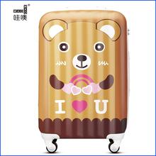 oso de dibujos animados de los hombres y las mujeres tire de la varilla maleta caja de la pc de la rueda universal abs maleta lash