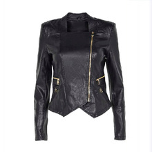 black hot sell trends factory price wholesale skate winter Metal zipper long leather sleeve trench coat