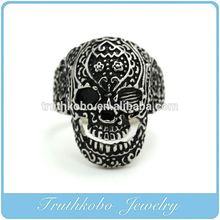 TKB-R0115 Stainless Steel Mens Gothic Biker Jewelry Sugar Skull Ring Oxidized Black