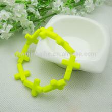 Yellow mini cross bracelet wholesale Christian gift.JBH1017-07
