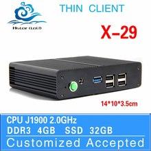 mini industrial computer pc thin client mini desktop J1900 X-29 4GB RAM 32GB SSD with 1*HDMI1.3,2*MIC,2*SPK etc