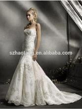 Trumpet/Mermaid Strapless Court Train Satin Wedding Dresses For Brides cheap Wedding Dressess China