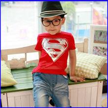 wholesale 2014 hot sale children cool superman 100% cotton short sleeve kids t shirt