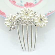 Women Fashion Rhinestone pearl flower Tuck Comb Flower Hair Pin Clip Bride Hair Accessories