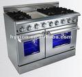 venda quente de aço inoxidável cozinha aparelho 6 queimador de gás fogão com forno duplo