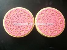 Hot sell Pink snowflake shape soft PVC coasters
