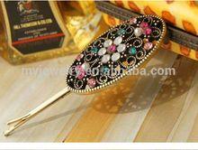 Vintage style flower shape rhinestone setting fashion flower hair bands for unisex