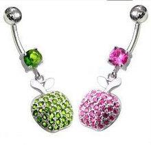 Fancy apple dangle belly button ring body piercing navel belly jewelry