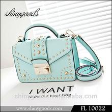 Latest Cheap Wholesale Fashion Ladies Purse, New Design leather Rivet handbag