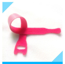 Pink durable back to back velcro ties for wire management