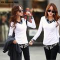 Nueva moda 2014 delgado y fino de algodón de manga larga falsas de dos piezas turndown camisas de cuello para las mujeres casual de oficina t- shirt 5031