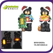 resin bear happy and lovely led animal resin black bear craft/decor