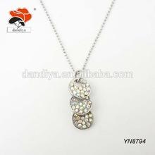 triple little shiny simple rhinestone hanging circle linked novelty pendant necklace jewelry