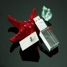 customized logo crystal glass usb flash drive with led light
