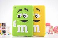 3D Cute cartoon Kids MM Chocolate Beans Silicone Case for ipad mini 1/2/3, 200pcs/lot