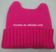 plain knitted cavel shape baby beanie hats