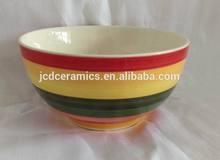 rainbow color band stoneware handpainted rice bowl