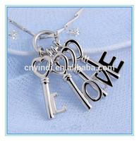 Fashion New Design Key Shaped Pendant, Letter I Love You Pendant