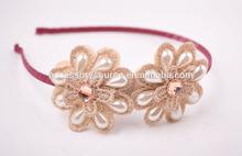 elegant pearl lace with rhinestone flower women headband