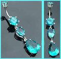 büyüleyici parlak mavi yapay taşlar dangle muz piercing yüzük vücut takı toptan